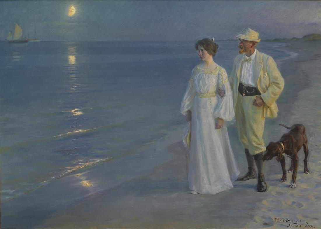 Fig. 4a. Painting by P.S. Krøyer: Summer evening on the beach at Skagen, oil on canvas, 135 x 187 cm. The Hirschsprung Collection, Copenhagen.